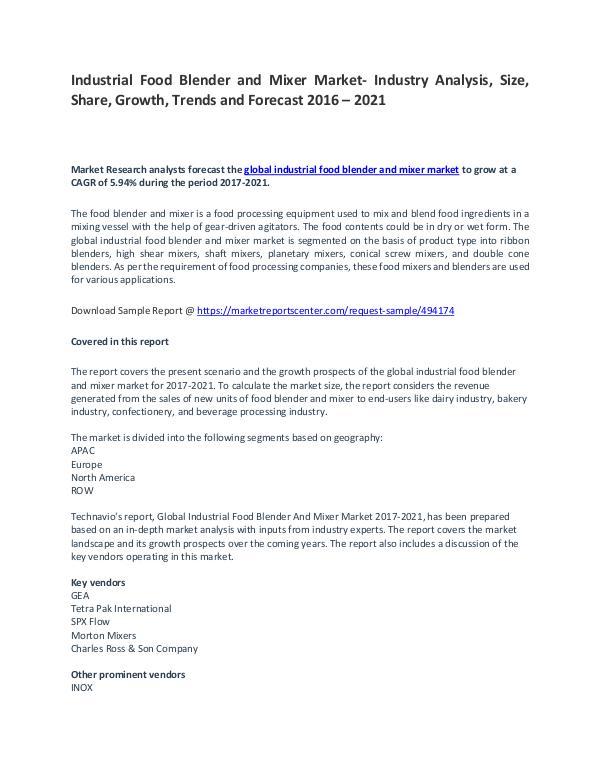 Industrial Food Blender and Mixer Market- Trends, Drivers, Strategies Industrial Food Blender and Mixer Market