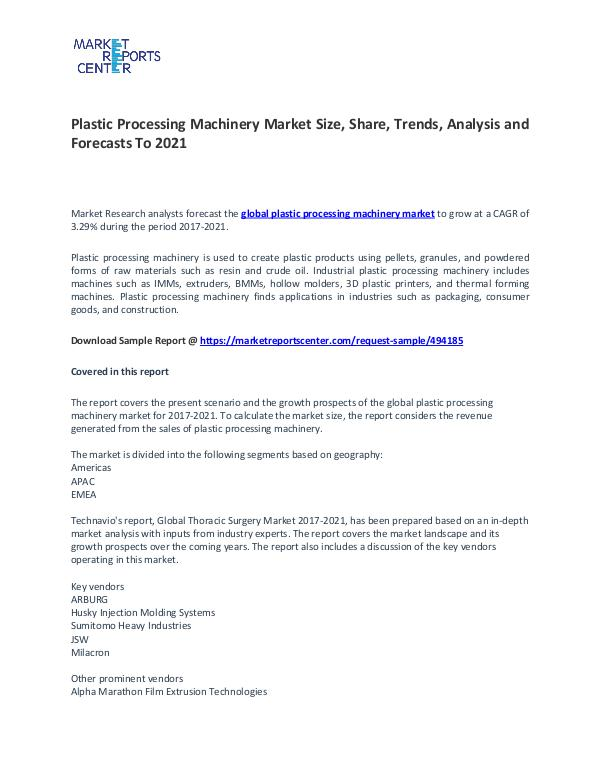 Plastic Processing Machinery Market Size, Share, Growth,  Analysis Plastic Processing Machinery Market