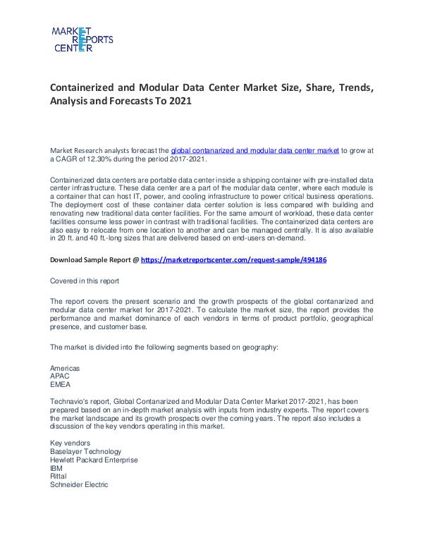 Containerized and Modular Data Center Market Size, Share and Growth Containerized and Modular Data Center Market
