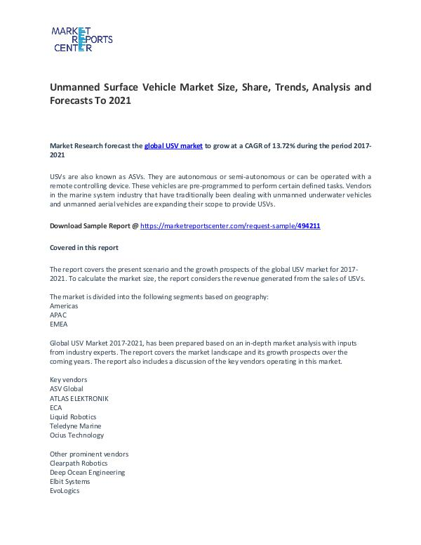 Unmanned Surface Vehicle Market Size, Share, Trends, Analysis Unmanned Surface Vehicle Market