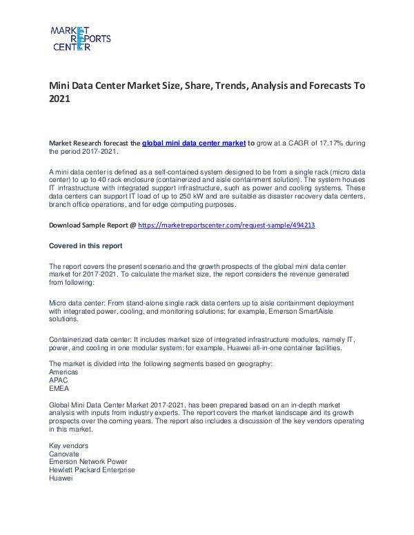 Mini Data Center Market Size, Share, Trends, Analysis and Forecasts Mini Data Center Market Size