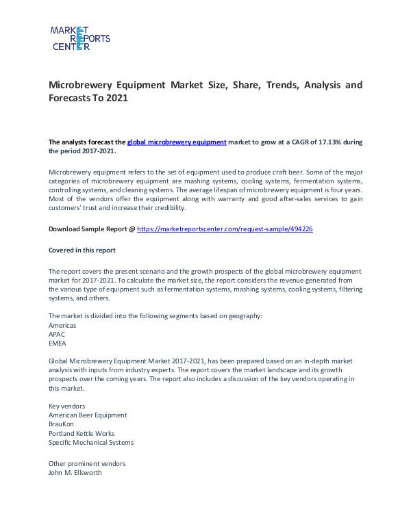 Microbrewery Equipment Market Size, Share, Trends, and Analysis Microbrewery Equipment Market