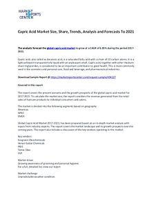 Capric Acid Market Trend, Growth, Price, Demand nd and Forecasts