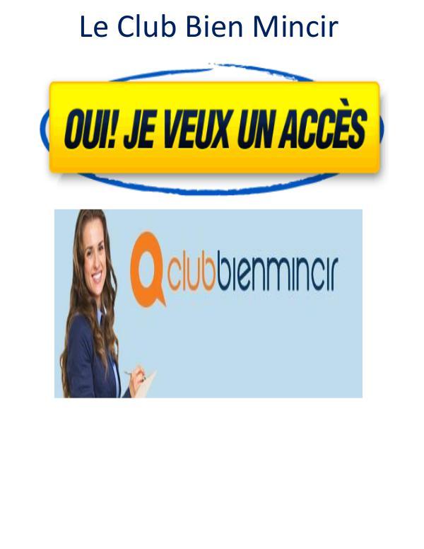 Livre gratuit Club Bien Mincir Avis PDF Téléchargement