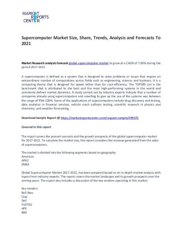 Supercomputer Market Size, Share, Trends, Analysis and Forecasts Supercomputer Market