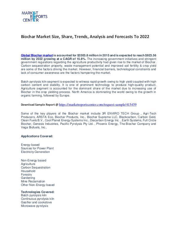 Biochar Market Growth, Price, Demand and Forecasts To 2022 Biochar Market