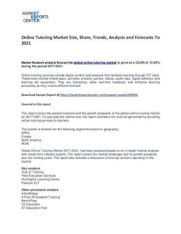 Online Tutoring Market Growth, Drivers, Strategies and Forecasts Online Tutoring Market