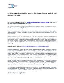 Intelligent Vending Machine Market Growth, Trends, Price and Forecast