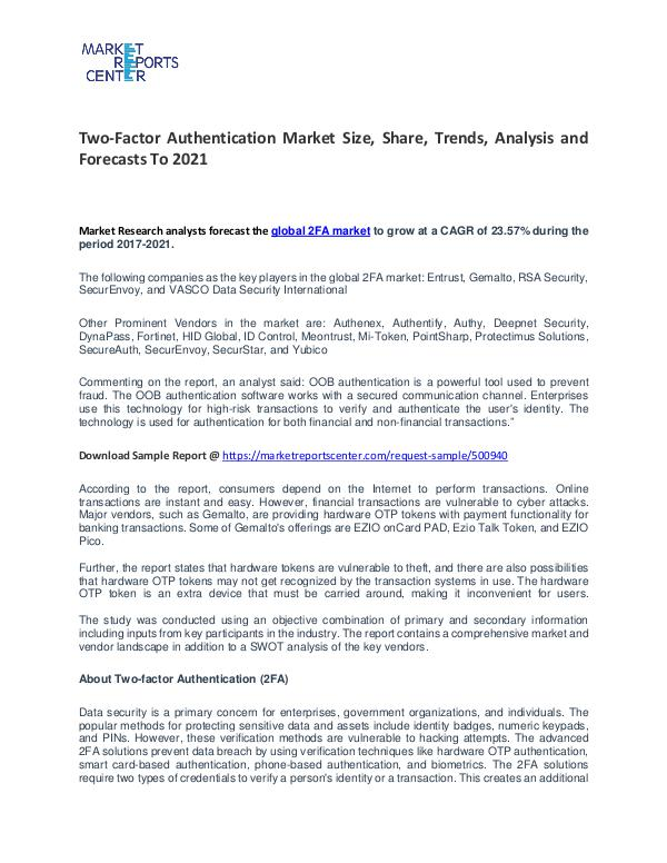 Two-Factor Authentication Market Growth, Trends, Price and Forecasts Two-Factor Authentication Market