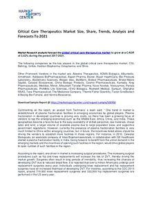 Critical Care Therapeutics Market Trends To 2021
