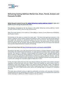 Defoaming Coating Additives Market Trends to 2021