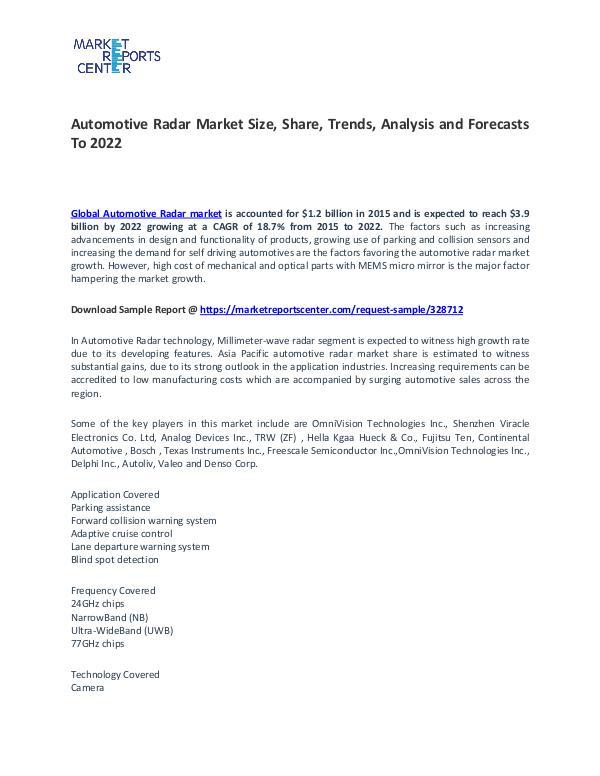 Automotive Radar Market Size, Share, Technology and Forecast Automotive Radar Market