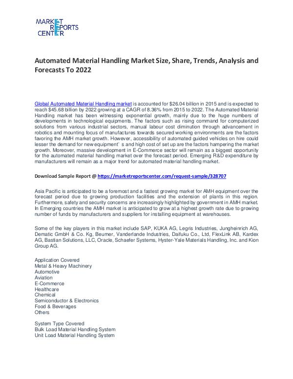 Automated Material Handling Market Size, Share and Forecast Automated Material Handling Market