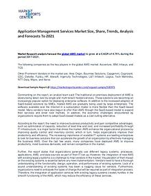 Application Management Services Market Trends, Growth and Forecast