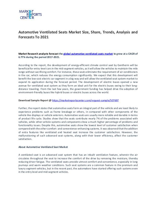 Automotive Ventilated Seats Market Research Report Forecasts To 2021 Automotive Ventilated Seats Market