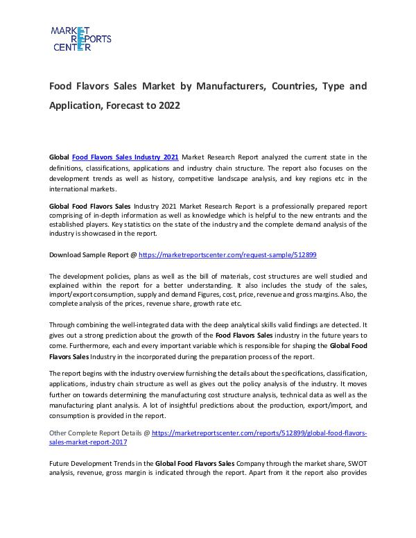 Food Flavors Sales Market Size, Production, Gross Margin and Forecast Food Flavors Sales Market