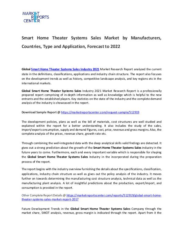Smart Home Theater Systems Sales Market Size, Production, Gross Margi Smart Home Theater Systems Sales Market