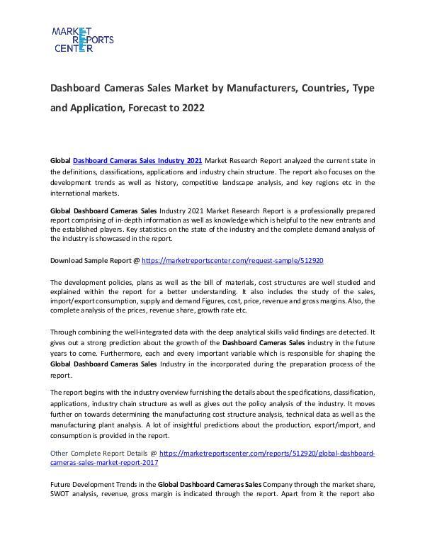 Dashboard Cameras Sales Market Size, Production and Forecast Dashboard Cameras Sales Market