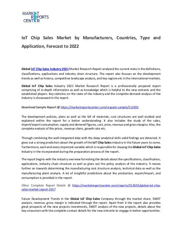 IoT Chip Sales Market Size, Production, Gross Margin and Forecasts IoT Chip Sales Market