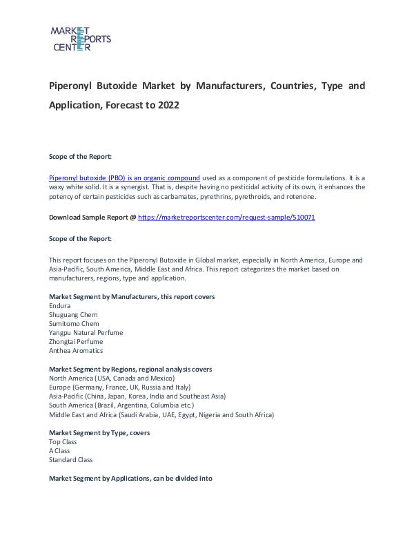 Piperonyl Butoxide Market Trends, Size, Share and Forecast Piperonyl Butoxide Market