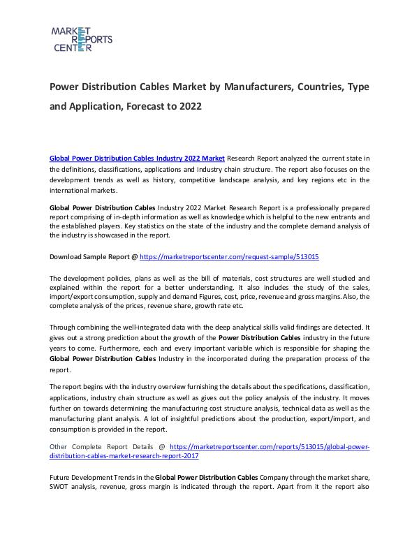 Power Distribution Cables Market 2017 Power Distribution Cables Market