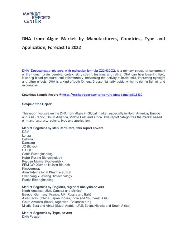 DHA from Algae Market Research Report Analysis to 2022 DHA from Algae Market