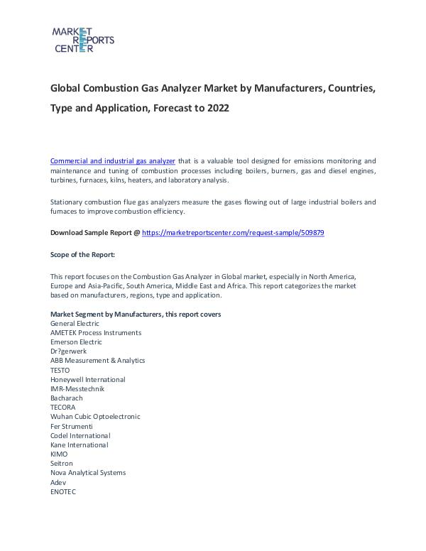 Combustion Gas Analyzer Market Report Analysis To 2022 Combustion Gas Analyzer Market
