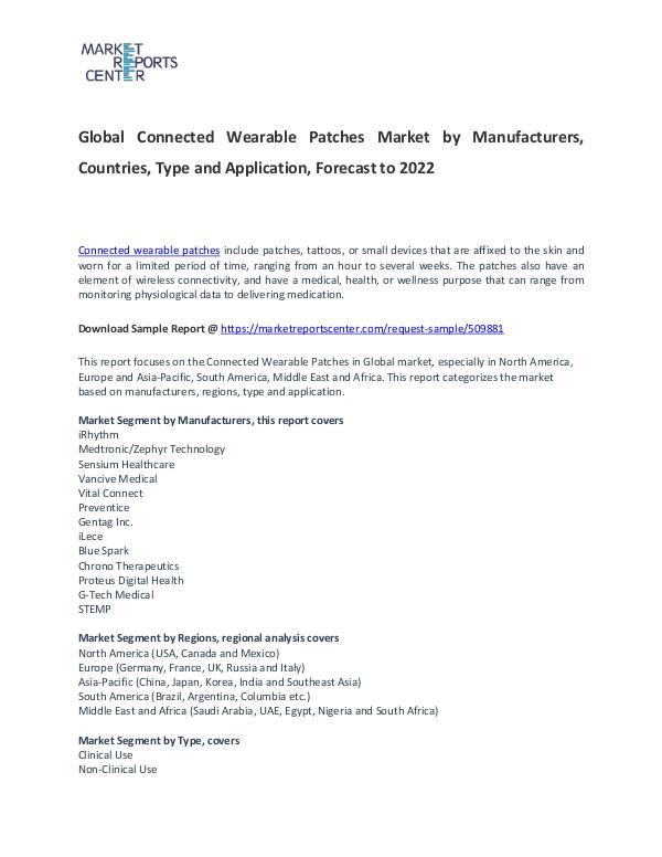 Connected Wearable Patches Market Report Analysis To 2022 Connected Wearable Patches Market