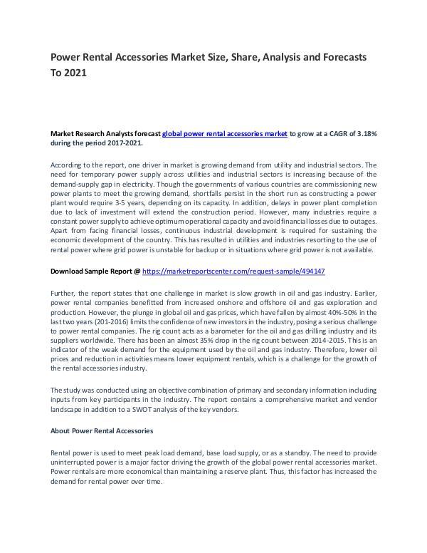 Power Rental Accessories Market Report Analysis to 2021 Power Rental Accessories Market