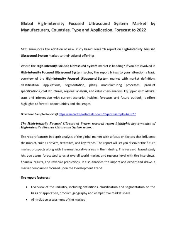 High-intensity Focused Ultrasound System Market High-intensity Focused Ultrasound System Market