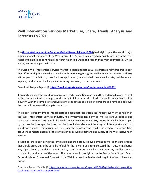 Well Intervention Services Market Size, Share, Growth and Analysis Well Intervention Services Market