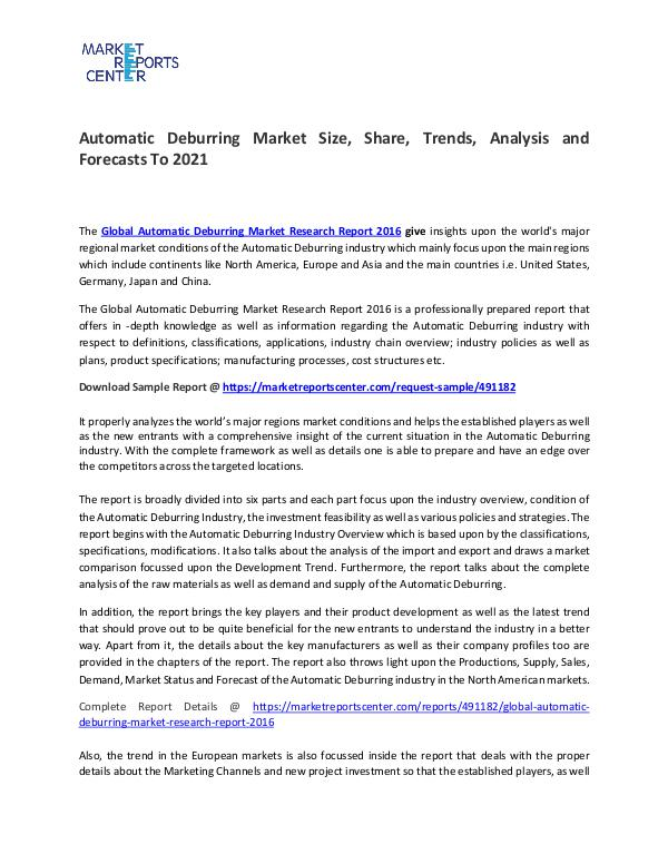 Automatic Deburring Market Size, Share, Trends, Analysis and Forecast Automatic Deburring Market