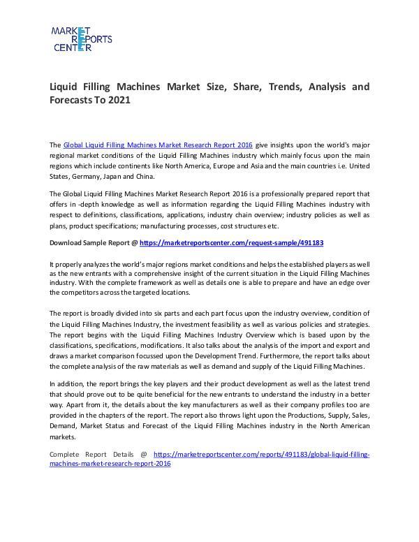 Liquid Filling Machines Market Size, Share, Trends, Analysis Liquid Filling Machines Market