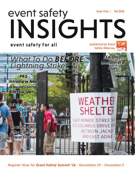 Event Safety Insights Issue One | Fall 2016