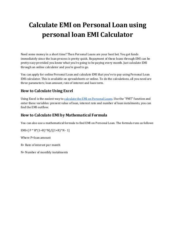 Calculate EMI on Personal Loan Using Personal Loan EMI Calculator Calculate EMI on Personal Loan using personal loan