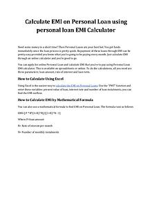 Calculate EMI on Personal Loan Using Personal Loan EMI Calculator