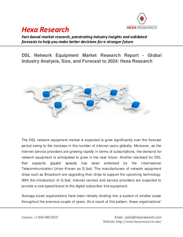 Media and Communication Market Research Report DSL Network Equipment Market Analysis