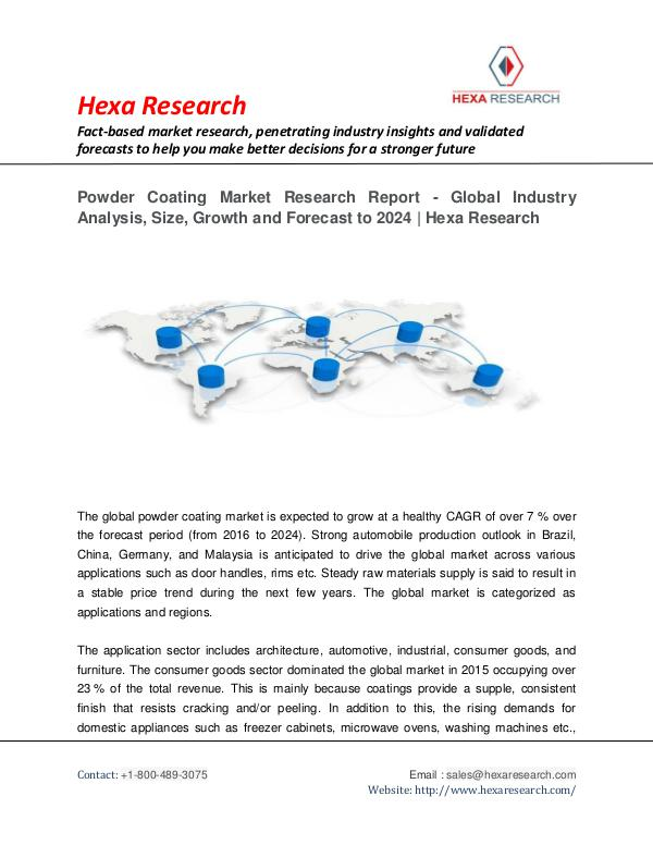 Chemical Market Reports Global Powder Coating Market Research Report