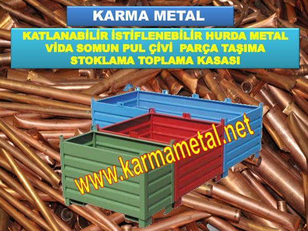 KARMA METAL Metal malzeme tasima kasasi Endustriyel toplama paletleri metal kasa