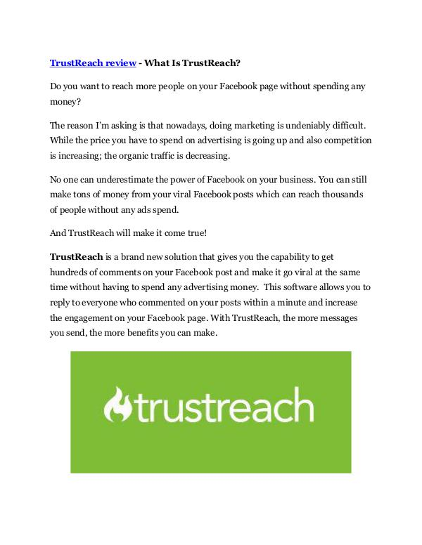 Marketing TrustReach Review - $24,700 BONUS & DISCOUNT