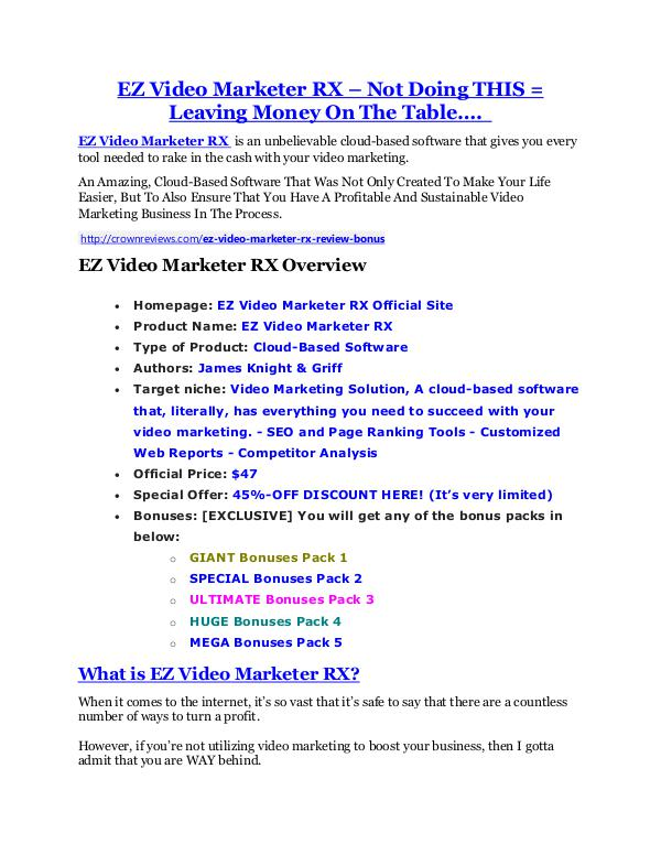 Marketing EZ Video Marketer RX review in detail and (FREE) $21400 bonus