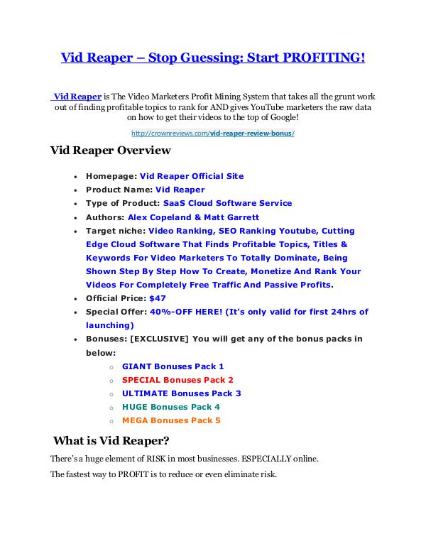 Marketing Vid Reaper Review and Premium $14,700 Bonus