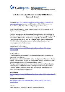 Global Automotive Plastics Industry 2016 Market Research Report