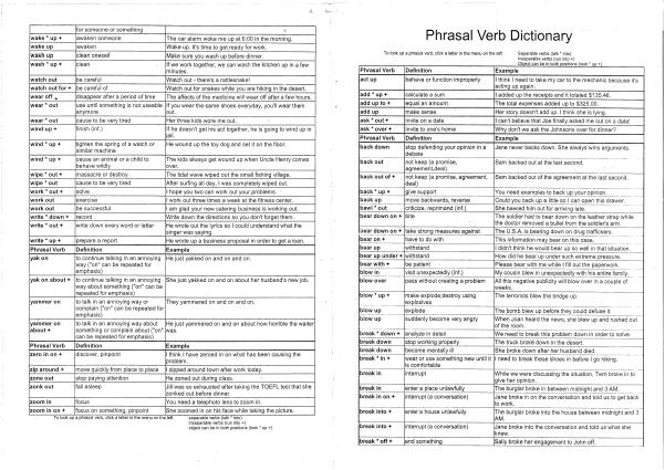 Phrasal verb dictionary Phrasal verb dictionary
