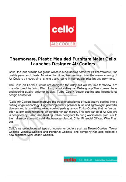 Cello Air Cooler Is A Trusted Brand Best Air Cooler Manafacturers In India