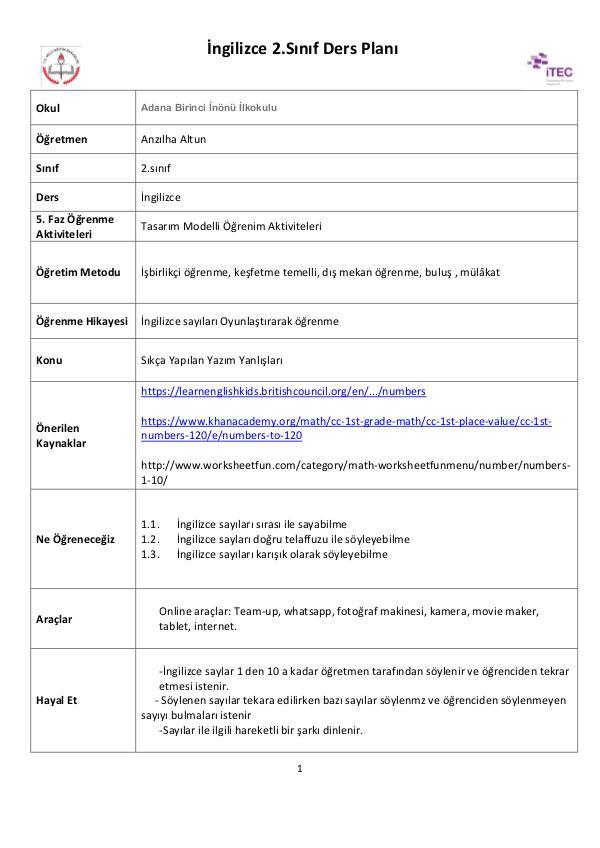 Öğrenme senaryosu-İngilizce Sayılar anzılha altun-öğrenme senaryosu