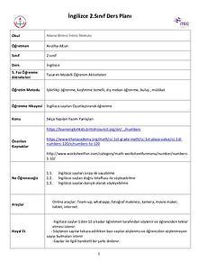 Öğrenme senaryosu-İngilizce Sayılar