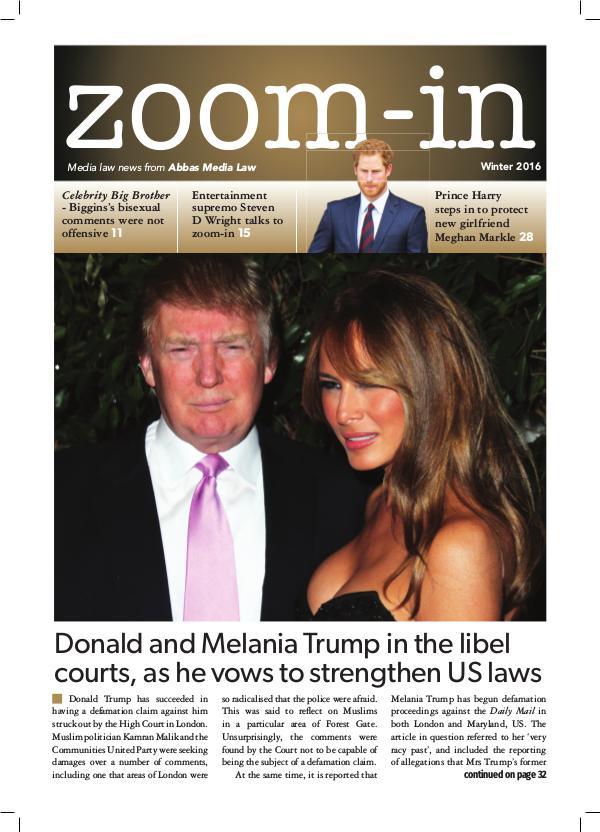 Zoom-in Winter 2016 ZOOM•IN MAGAZINE | WINTER ISSUE
