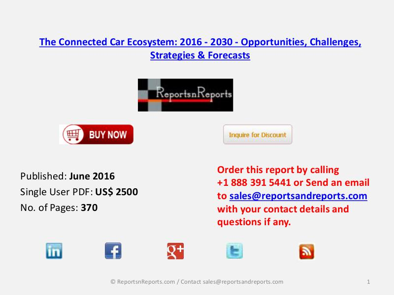 Global Connected Car Industry Roadmap And Value Chain 2016 2030