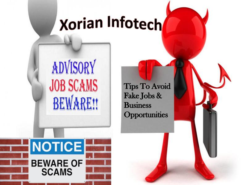 Xorian Infotech - Tips To Avoid Fake Jobs & Business Opportunities Scam